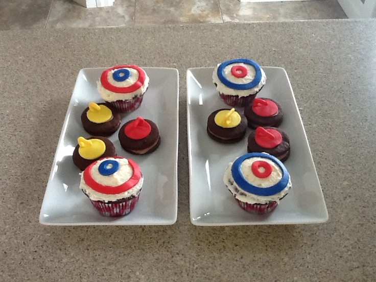 Curling bonspiel cookies and cupcakes