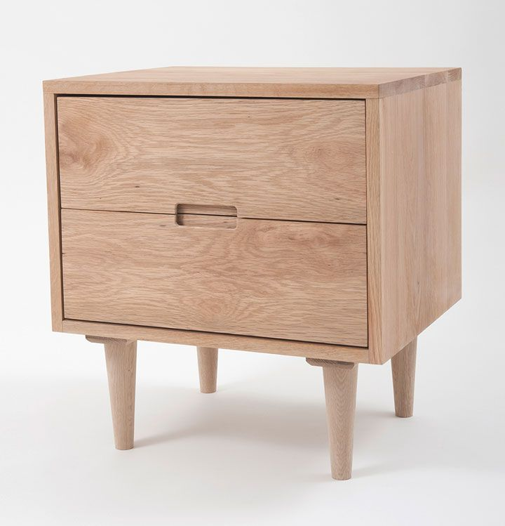 Hugo Bedside Table:  Scandinavian inspired design. These ultra modern bedside tables are perfect to complete the look in any room. Made from American oak, with a natural light woodgrain finish.  #Scandinavian #Design #Oak #Interior #Bedside #MYHAH