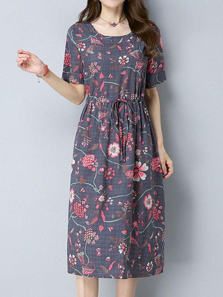Lässige O-Ausschnitt elastische Taille Floral bedruckte Kleider für Frauen