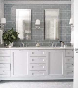 pink and navy blazers grey subway tiles   penny tile on the floor   white cabinets