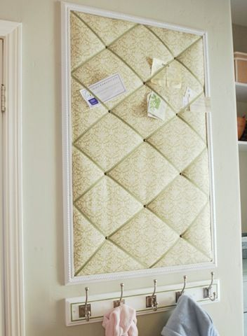 "custom memo board- I love the finishing with the ""frame""."