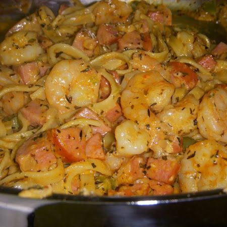 Shrimp- Cajun Shrimp and Sausage Pasta Make it paleo friendly by skipping the heavy cream and serving on top of spaghetti squash