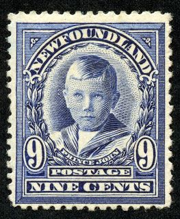 "Newfoundland 1911 Scott 111 9c blue violet ""Prince John"""
