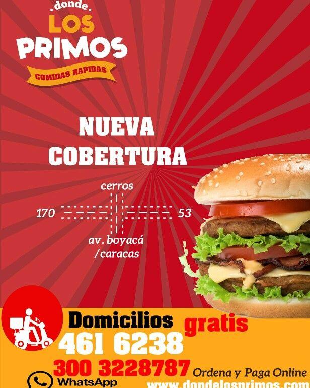 Recuerda Nuestra Nueva Zona De Cobertura. #yocomodondelosprimos #foodporn #cedritos #bogota #mazorcadesgranada #comidarapida #hamburguesa #culturacosteña #costeños #bacon #tocineta #domicilios #gratis #colinacampestre #mazuren #fastfood #calidad #comida #burger