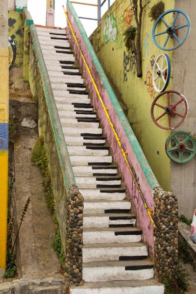 Styleitchic garden ideas too cute staircase painted to look like a piano keyboard clever for Escalier decor
