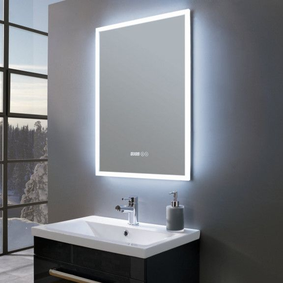 Amour Ultra Slim Portrait Led Illuminated Mirror With Digital
