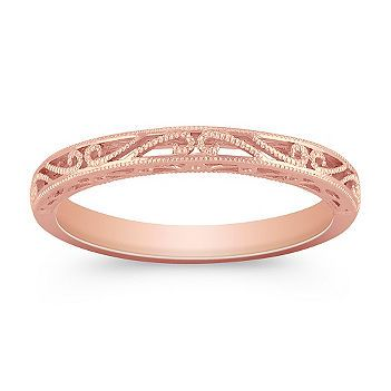 Fabulous This romantic wedding band is crafted in quality karat rose gold The migrain detailing
