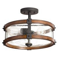 Barrington 14 02 In W Distressed Black And Wood Clear Gl Semi Flush Mount Light