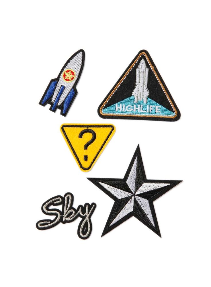 Spaceship And Star Iron On Badge Pack* - Trending Now - New In - TOPMAN EUROPE