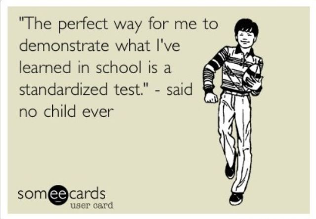 It's that time of year again-- standardized testing! ...... woohoo.... NOT! :)
