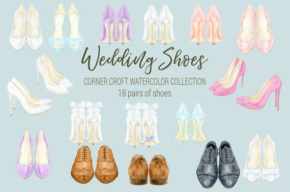 37b19254921ff Wedding shoes clipart watercolor wedding shoe white peach | Etsy ...