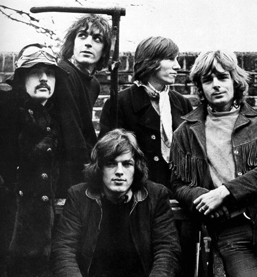 All five members of Pink Floyd, c.1968: L-R; Nick Mason, Syd Barrett, David Gilmour, Roger Waters, Richard Wright