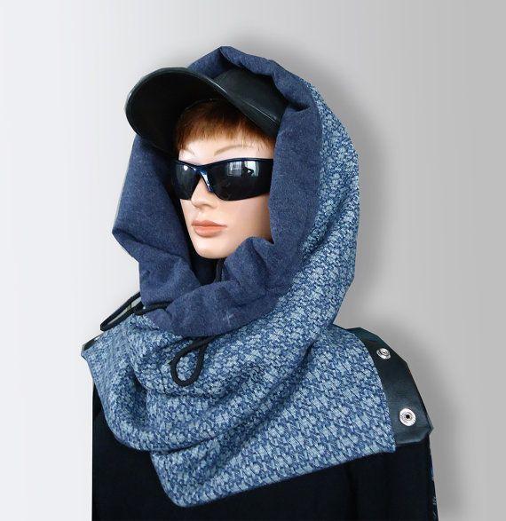 Blue Men Women Unisex Wool Scarf Cozy Cowl with by JoliefleurDeco