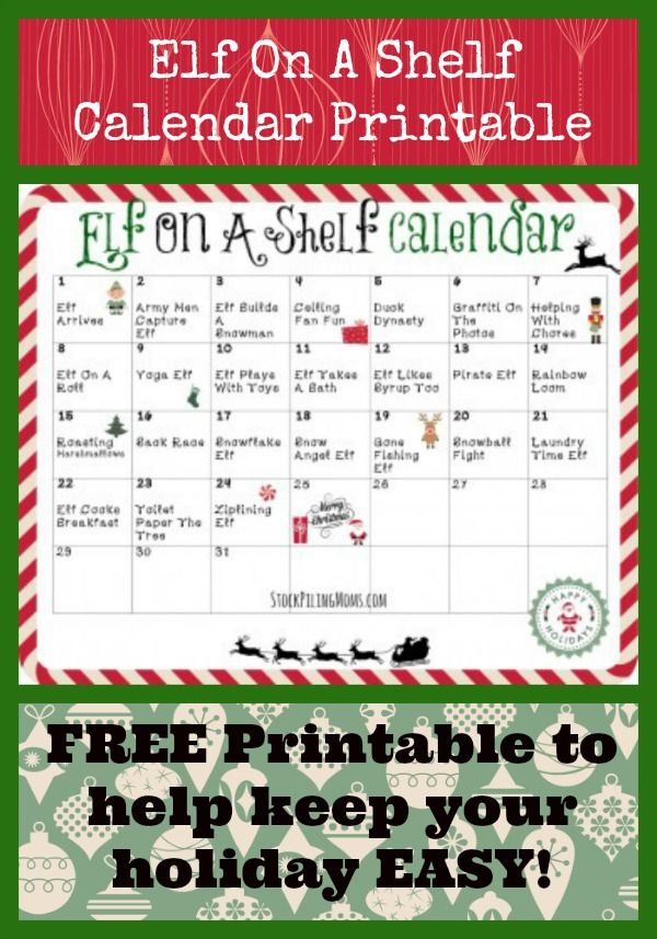 FREE Elf On A Shelf Calendar Printable - keep it simple and let us take the stress out of it for you! #Christmas #ElfontheShelf
