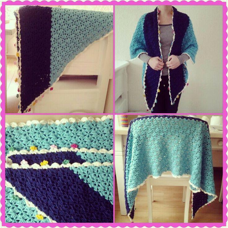 Sjaal two-tone haken en kleur