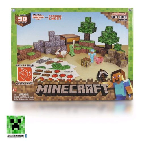 Minecraft Papercraft – Overworld Deluxe Set INCLUDES: 1X CREEPER 2X TREES 20X COBBLESTONE BLOCKS 8X…