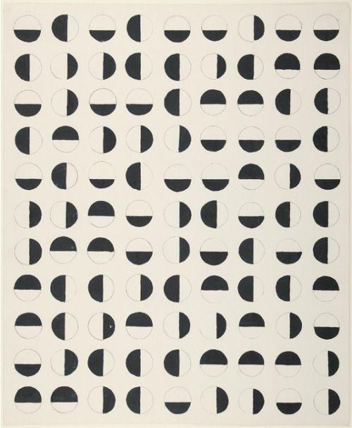 CHARLOTTE POSENENSKERASTERBILD (HALBKREISE), KASEINFARBE UND BLEISTIFT AUF PAPIER, 58,5 x 48cm, UNIKAT, 1957