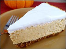 Hungry Girl Pumpkin Cheesecake  MAKES 12 SERVINGS  Serving Size: 1 slice   Calories: 160   Fat: 3.25g   Sodium: 579mg   Carbs: 20g   Fiber: 5g   Sugars: 7g   Protein: 15g     PointsPlus® value 4*