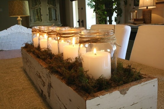 centerpiece: old elongated chippy painted box, large mouth mason jars w/ white candles, sheet moss
