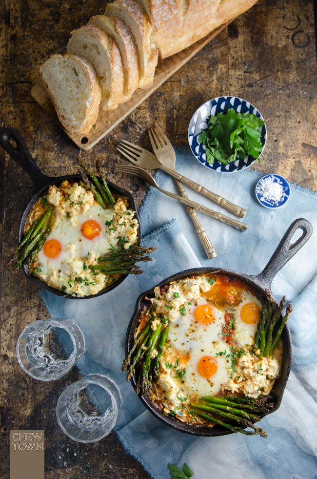 Baked Eggs in Italian Tomato Sugo with Asparagus and Ricotta