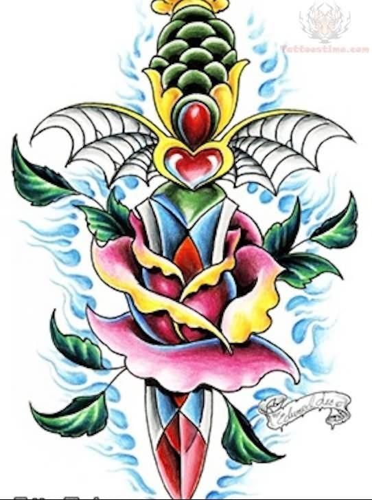 rose-dagger-old-school-tattoo