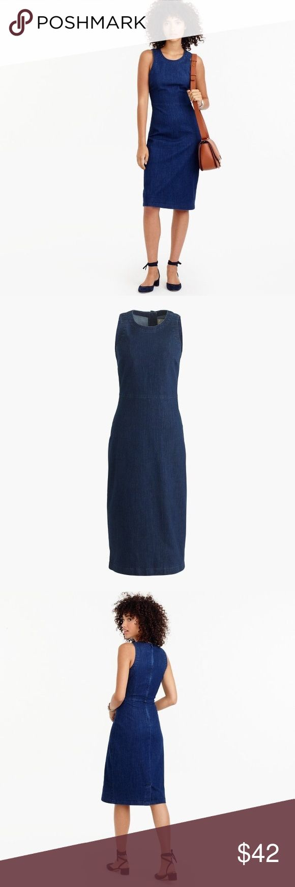 """♥️ EUC J. CREW DARK DENIM Sheath Dress Stretch 8 EUC J. Crew Denim sheath dress in size 8.  SIZE & FIT Sheath silhouette. Falls above knee, 39"""" from high point of shoulder (based on size 6). Fits true to size.  PRODUCT DETAILS Proof that denim is appropriate for every occasion. This slim sheath dress features a classic dark denim wash that goes with everything. We like it on its own or layered over fitted turtlenecks for cooler weather.  Cotton/lyocell/poly/elastane. Zip closure.  More…"""