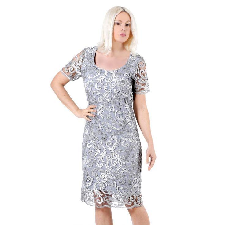 BRAVO Δαντελωτό κλασικό φόρεμα, γκρί-ασημί