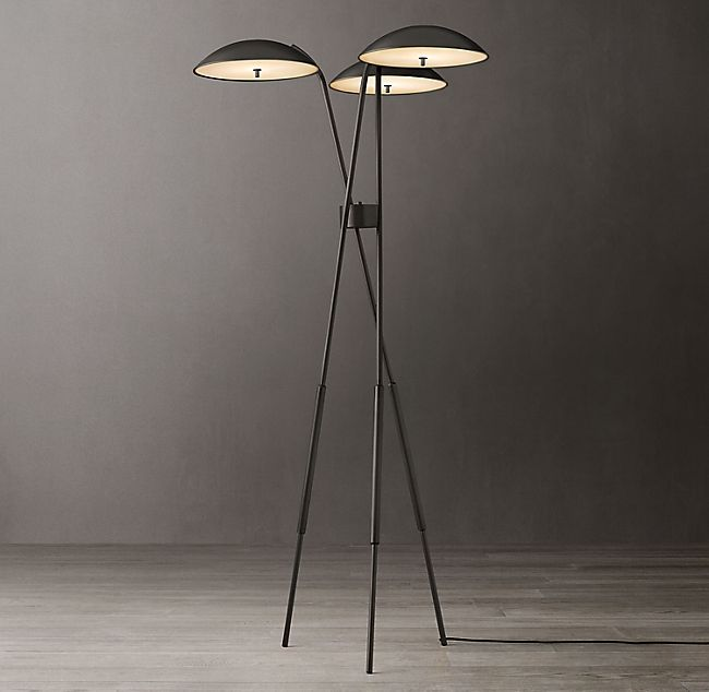 Albany Metal Tripod Floor Lamp, Black