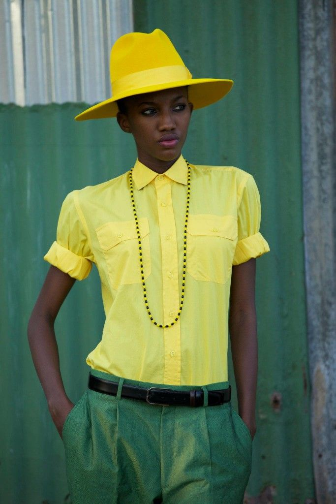Source: http://www.africafashionguide.com/i-love-soweto-ozwald-boatengs-ss12-fashion-shoot/ Date: 2012 This woman's dress is a great example of black dandyism. The loud colors and unusual hat show this.