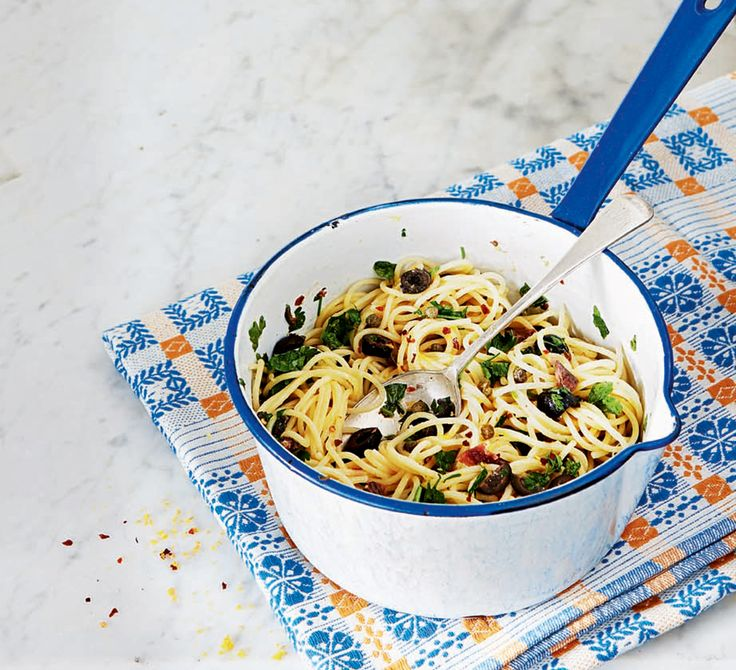 This storecupboard supper combined the robust flavours of anchovies, capers and black olives. For a variation, toss cherry tomatoes and pine nuts through the pasta.