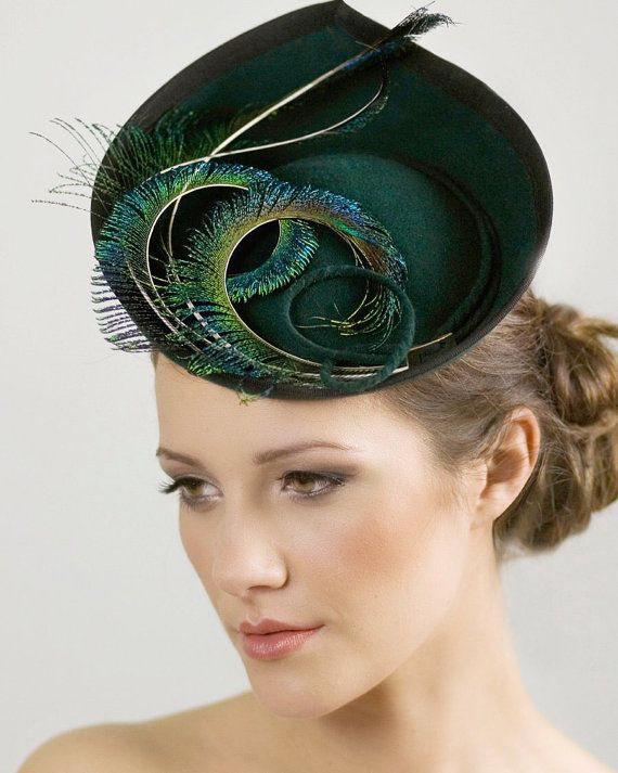 Hat for the Races, Ladies Day, Saucer Hat for Women, Wedding Feathered Millinery - Elin