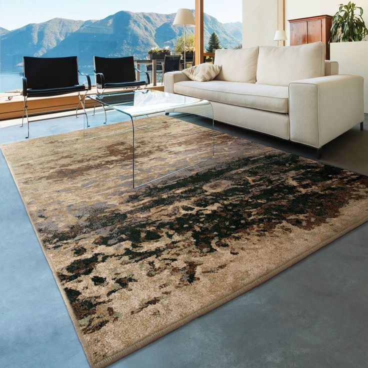 Living Room Design Ideas Features Brown Dark Furry Rug And