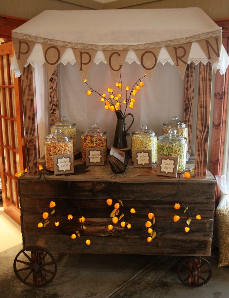 Popcorn cart for wedding reception. #weddingfood