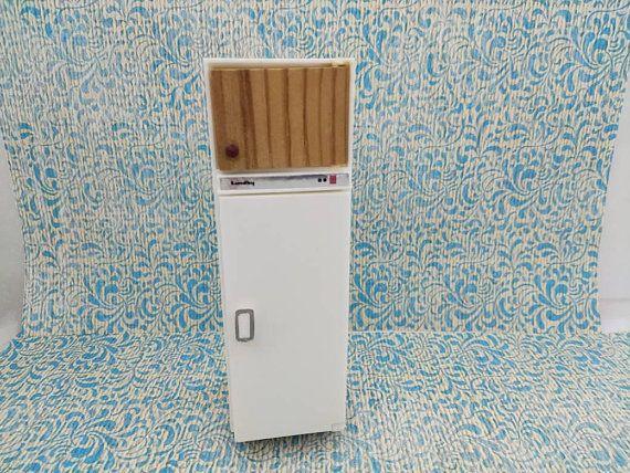 Lundby Fridge White and Wood Cupboard made in England Barton Doll Furniture Kitchen MCM  #fridge #DollHouse #MinimalScratch #CarolinesHome #etsysellsvintage #RenwalIdeal #BartonLundyEngland #DollhouseToy #TinLitho #kitchen #dollhouse#miniatures#dolls#vintagetoys#retro#midcentury#marx#renwal#minimalscratch#etsyseller