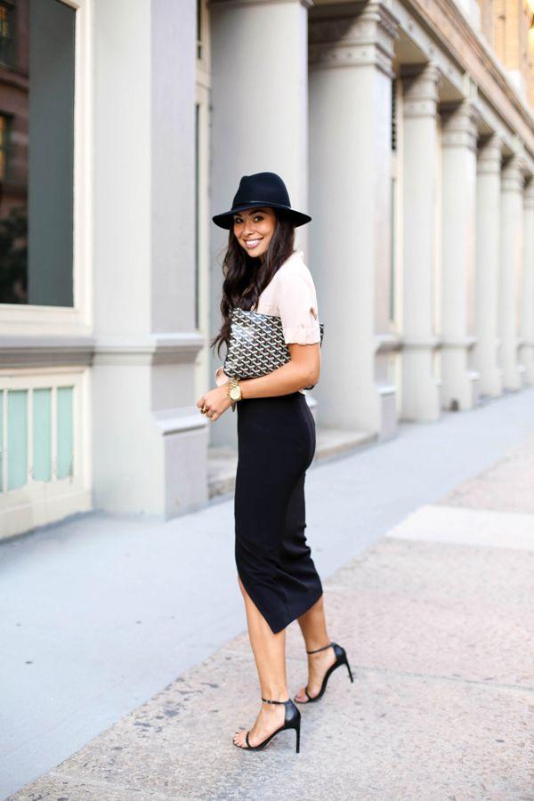 Black + Blush - Equipment blouse // Stuart Weitzman heels Zimmermann skirt // Hat Attack fedora Goyard clutch // Michael Kors watch Tuesday, October 13, 2015