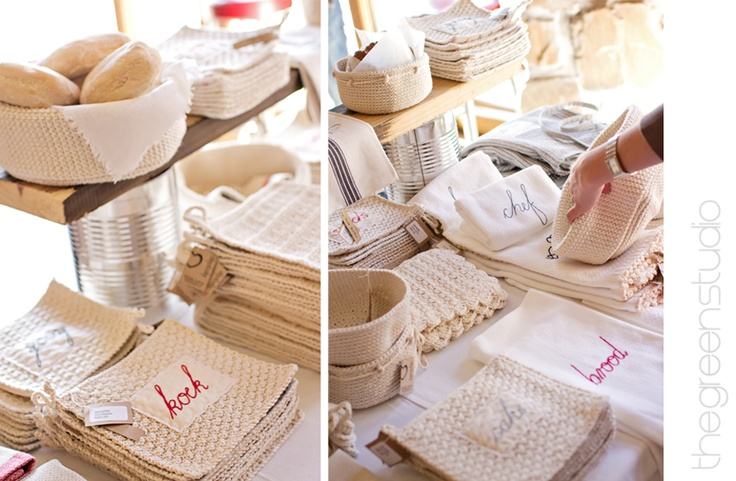 Bread baskets, oven lappies & tea towels at KAMERS 2012 Bloemfontein, beautifully photographed by Ria Green via @The Pretty Blog