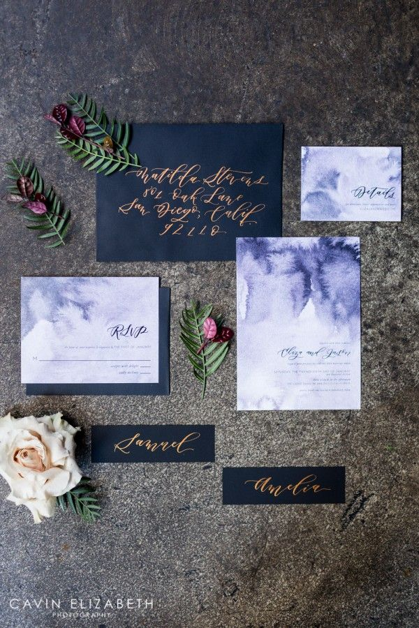 Purple watercolor and black wedding invitations with copper calligraphy from Twinkle and Toast