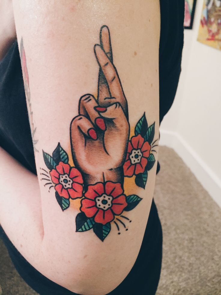 Fingers Crossed Tattoo by Barrett Fiser at Electric Tattoo, Asbury Park NJ