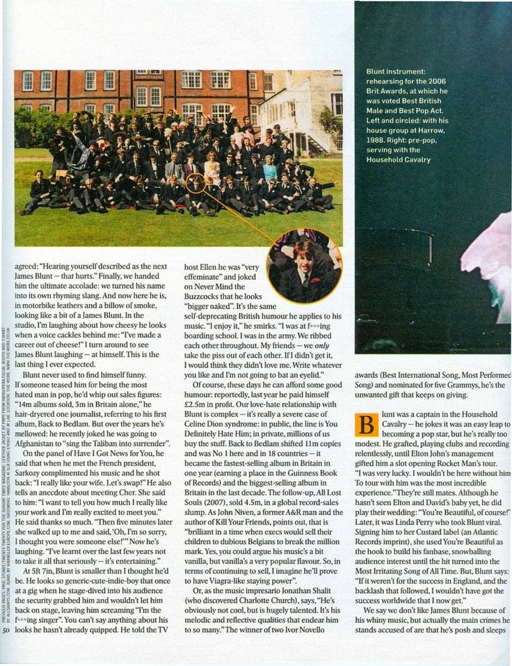 James Blunt with his house group at Harrow School, 1988. Source: The Sunday Times Magazine, 20 February 2011.