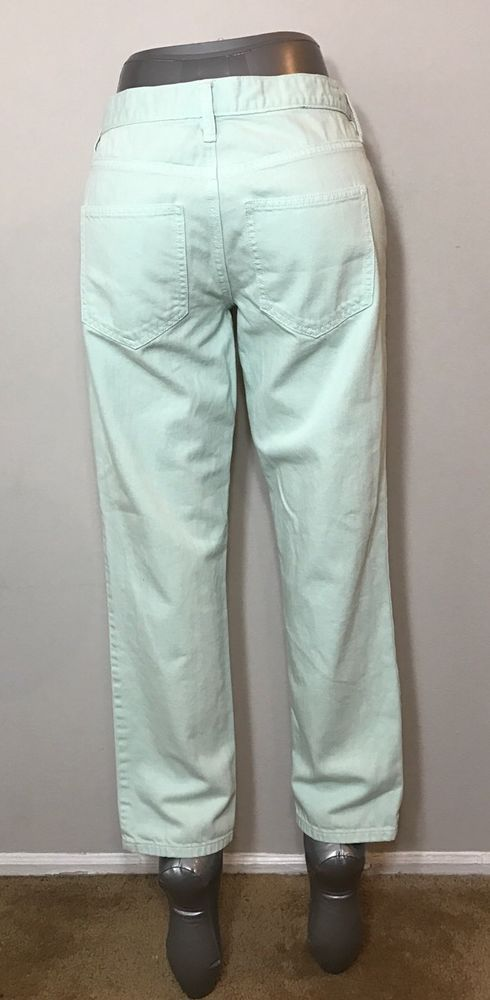 Ann Taylor LOFT Size 26/2 Jeans Boyfriend Mint Green Button Fly Spring Easter   | eBay