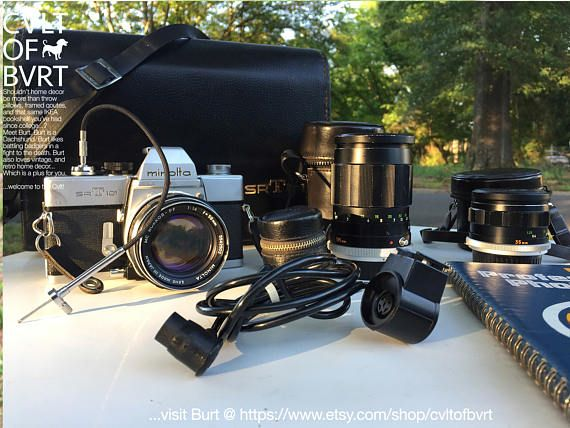 1960's Minolta SRT-101 35mm Film Camera w/ Hard Case, Multiple Lenses, Skylight Filter, Lenses Cases, and More! Retro Camera, Vintage Camera