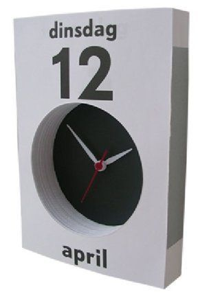 sorry english speakers, the daily calendar on the 'calendar clock' designed by Henk Stallinga is in dutch