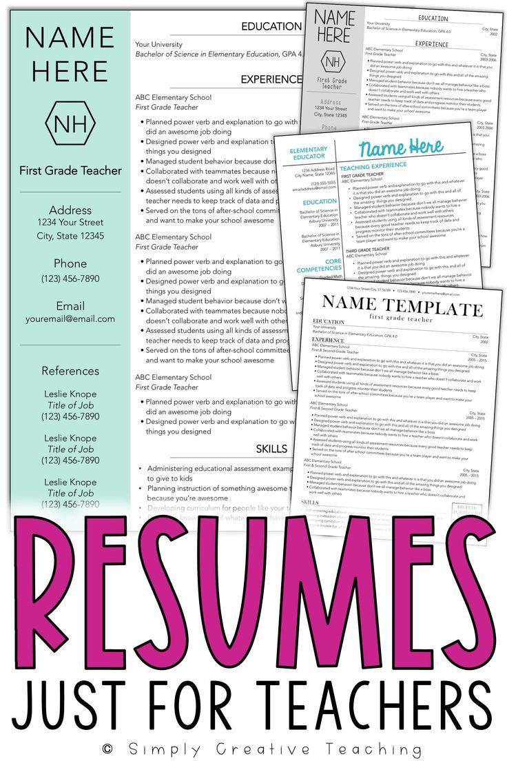 Resume Templates Editable Teacher resume, Teaching