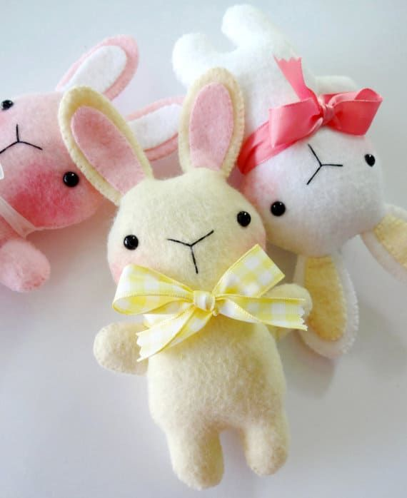 The felt bunny softie sewing pattern by Precious Patterns is fun and simple to make
