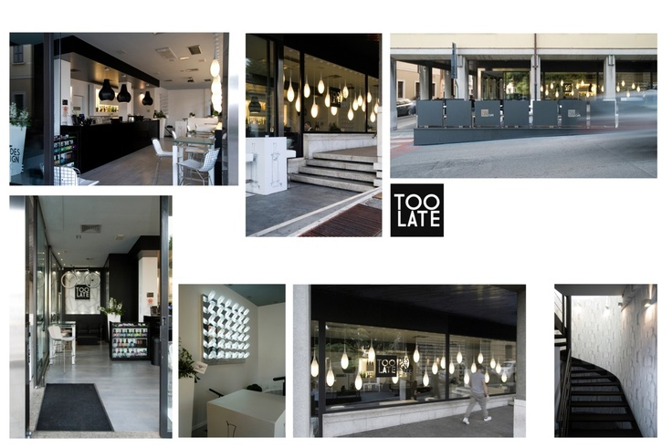 Toolate Design Cafe Brescia 2011    An old bar in Brescia was creatively redesigned into a young lounge bar. An impressive approach in the existing space set, the background for a minimal black & white concept of the interior. Client: private; work amount: 85.000 eur