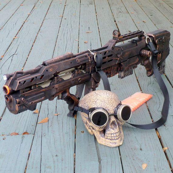 Steampunk Gun and Goggles HALO Nerf by oldjunkyardboutique on Etsy, $129.99