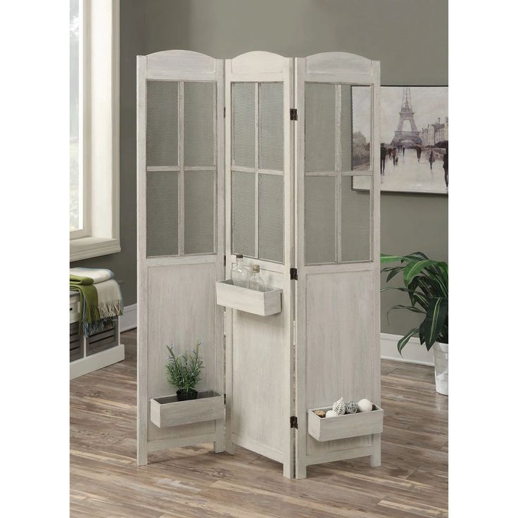 Coaster Furniture  Panel Folding Room Divider With Removable Boxes