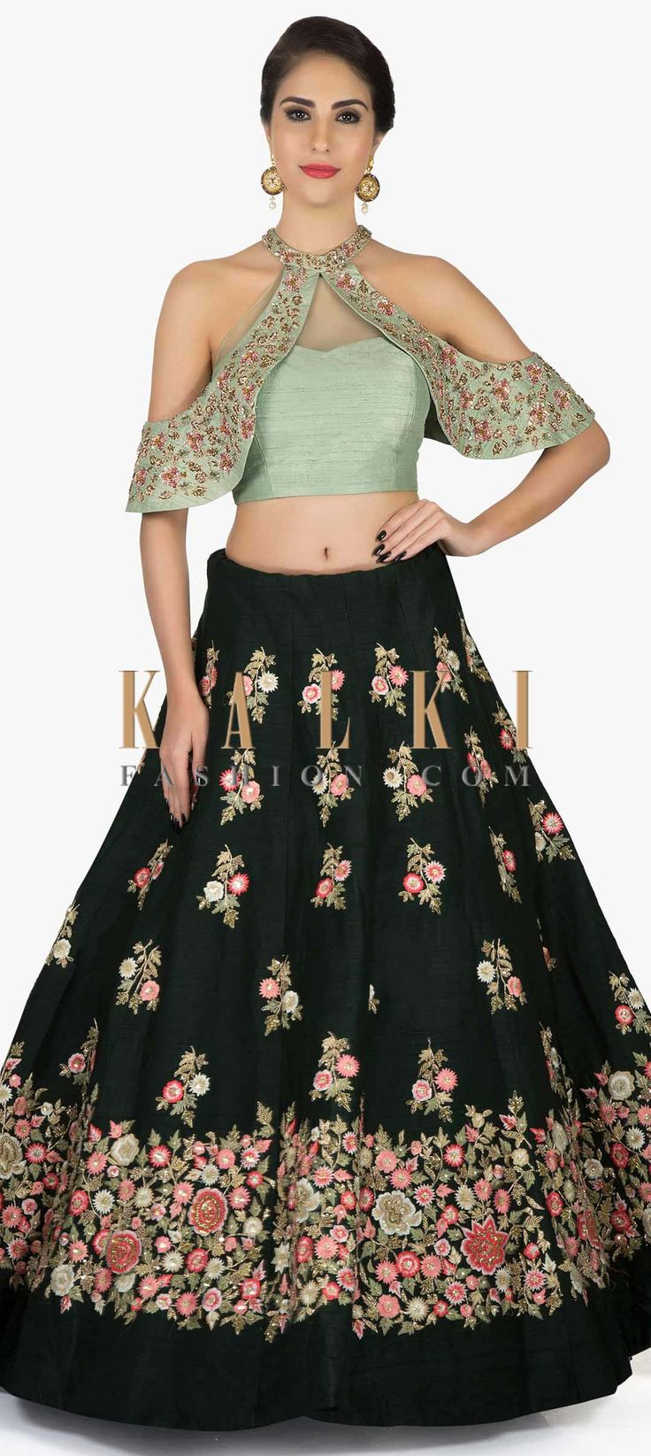 Bottle Green Lehenga with Halter Neck Mud-green Blouse enhanced in Resham and Zardosi only on Kalki
