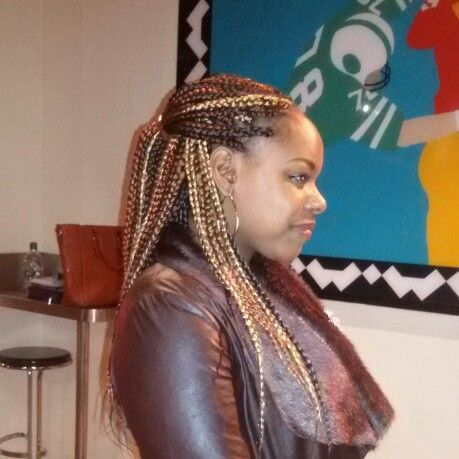 Long braids with 5 tone colours