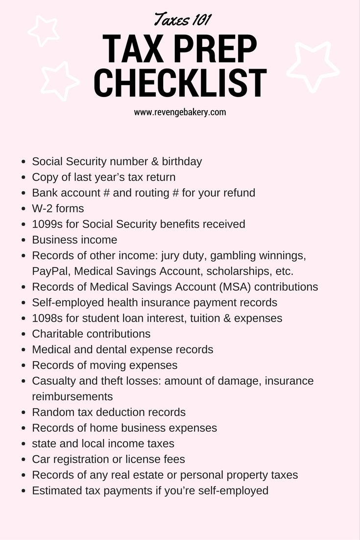 Tax Checklist Tax 101 For The Self Employed Tax Prep Checklist Tax Prep Tax Checklist